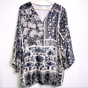 Johnny Was Biya Silk Velvet Floral Tunic Top XS
